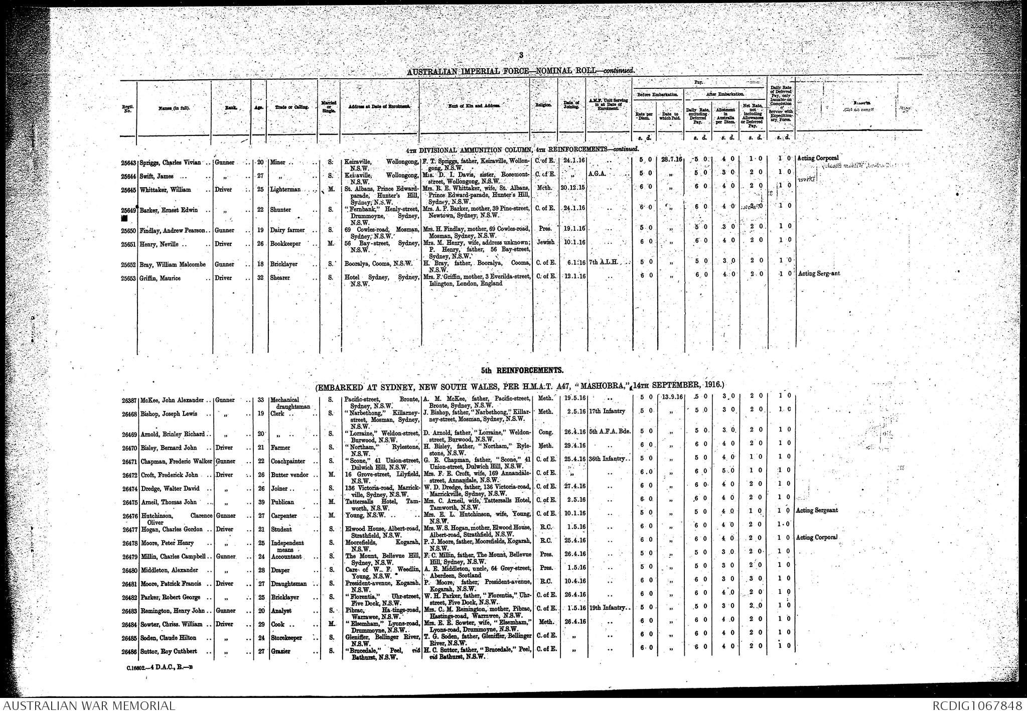awm8 25  111  3 - 4 divisional ammunition column - 2 to 10 reinforcements  apr 1916