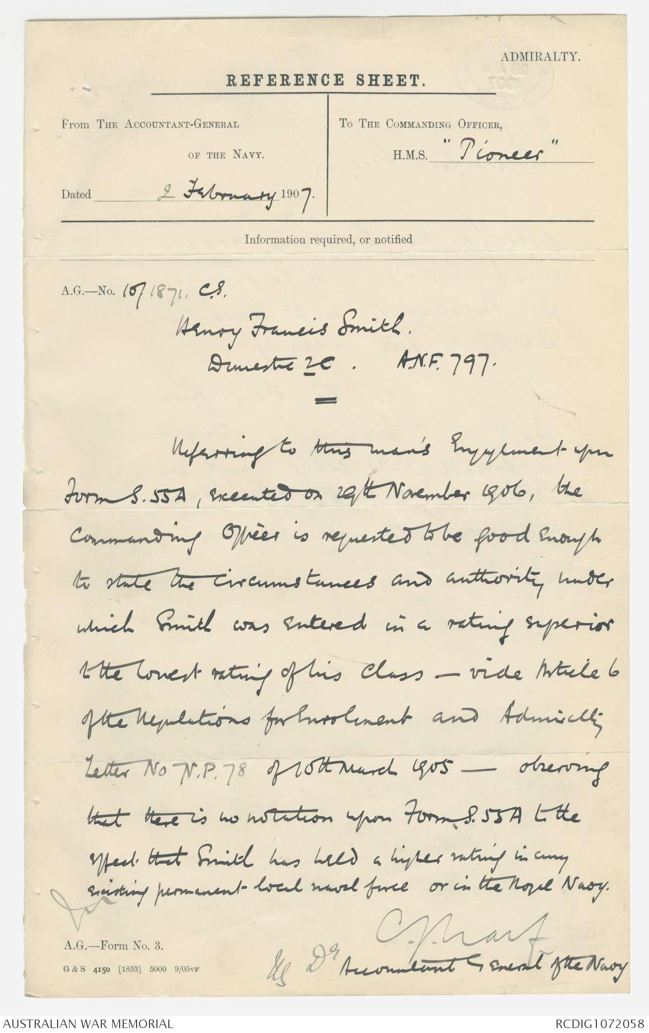 AWM266 3/1/797 - 797 Henry Francis Smith | The Australian War Memorial