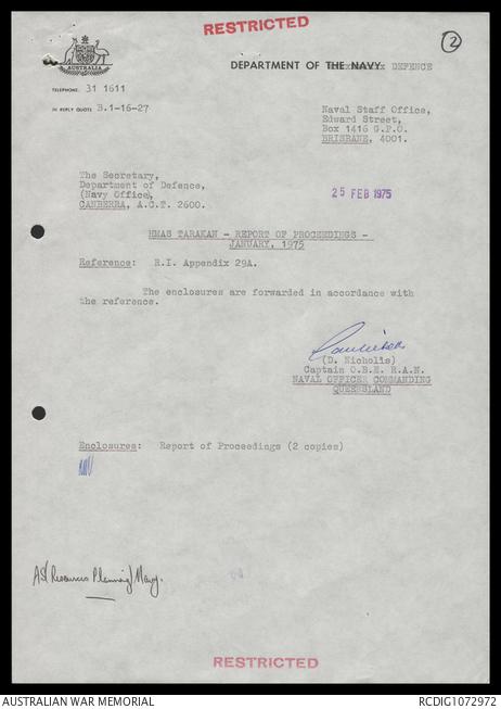AWM78 337/5 - January-December 1975   The Australian War