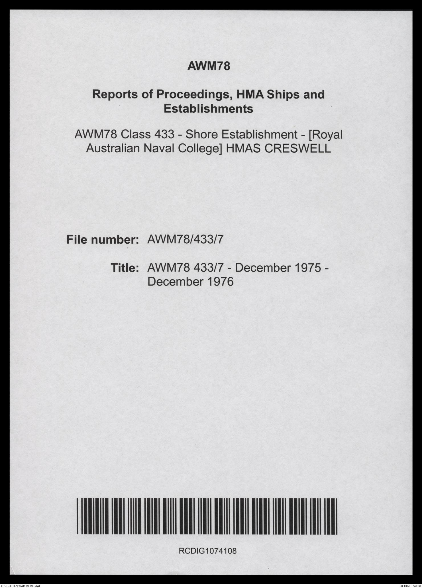 AWM78 433/7 - December 1975 - December 1976 | The Australian War