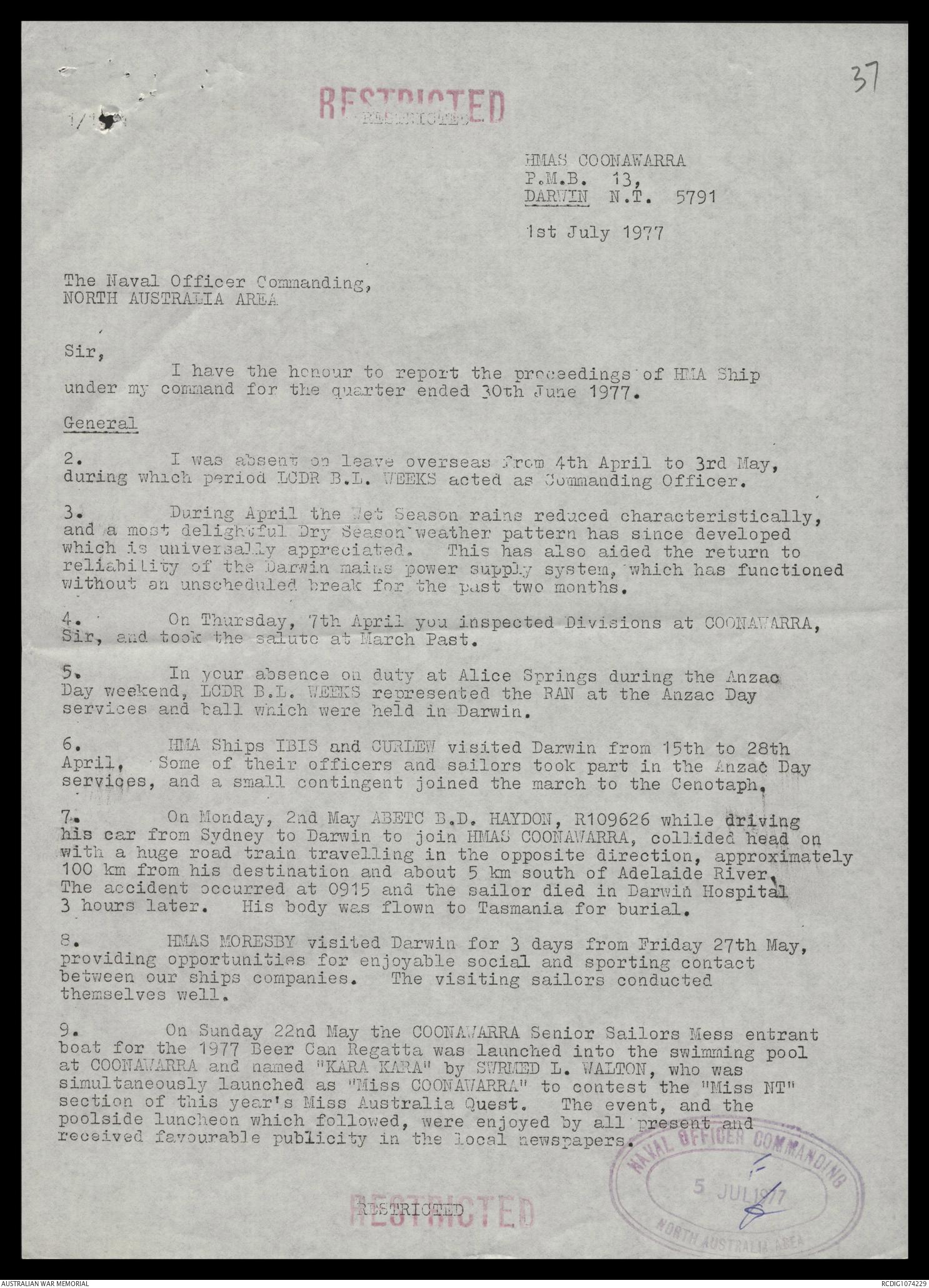 AWM78 432/4 - January-December 1977 | The Australian War