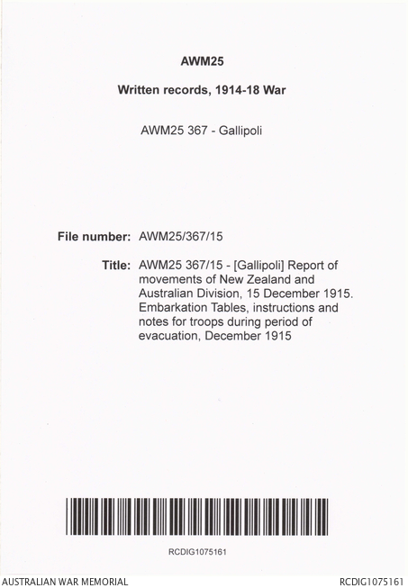 Awm25 36715 Gallipoli Report Of Movements Of New Zealand And