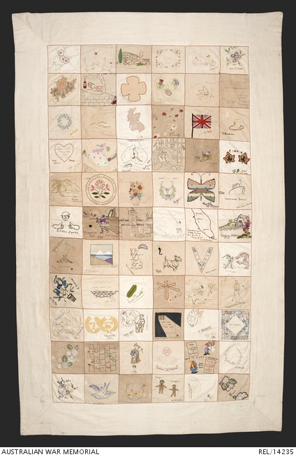 Quilt made by female internees at Changi