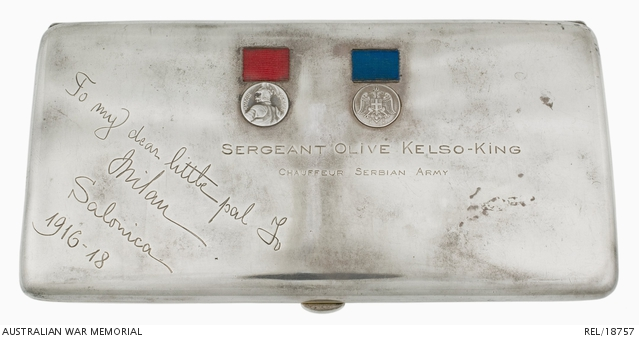 Engraved sterling silver cigarette case : Sergeant Olive May (Kelso) King, Ambulance Driver, Serbian Army. REL18757.