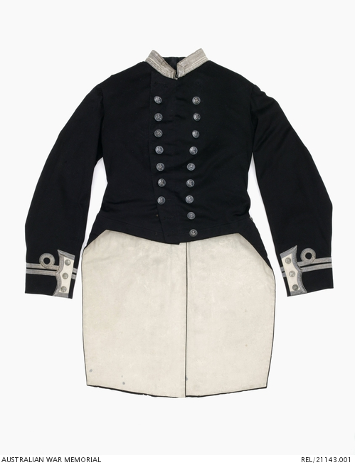 Naval Officer's full dress tail coat worn by Lieutenant Frederick Oliver Handfield during his service in the Victorian Navy