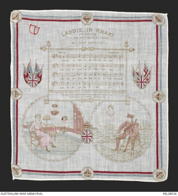 Printed handkerchief with words, music and illustrations to Laddie in Khaki (The Girl Who Waits at Home) by Ivor Novello. REL28926