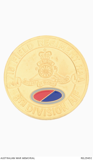 Medallion issued to former members of 2/15 Field Regiment, Royal Australian Artillery to commemorate the 50th anniversary of V-J Day