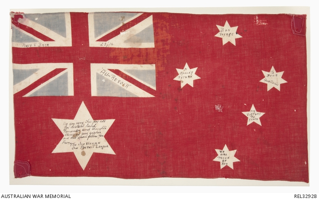 Australian red ensign : Private P V Barr, 14 Battalion AIF. REL32928