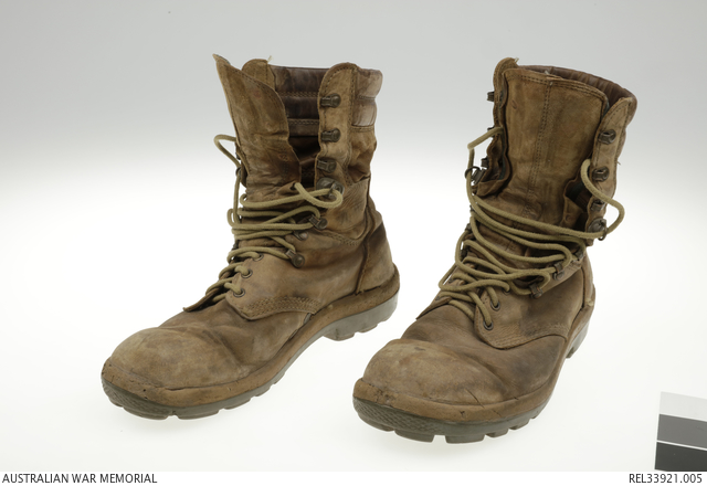 00fbba8add8 Pair of Australian Army issue boots   Corporal A A Rutledge