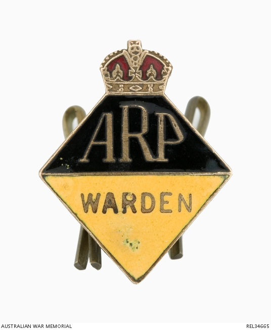 ARP (Queensland) Warden Badge : F R Kerr