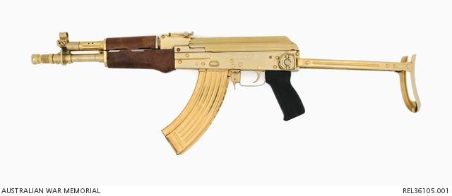 Gold plated AK104 assault rifle | The Australian War Memorial