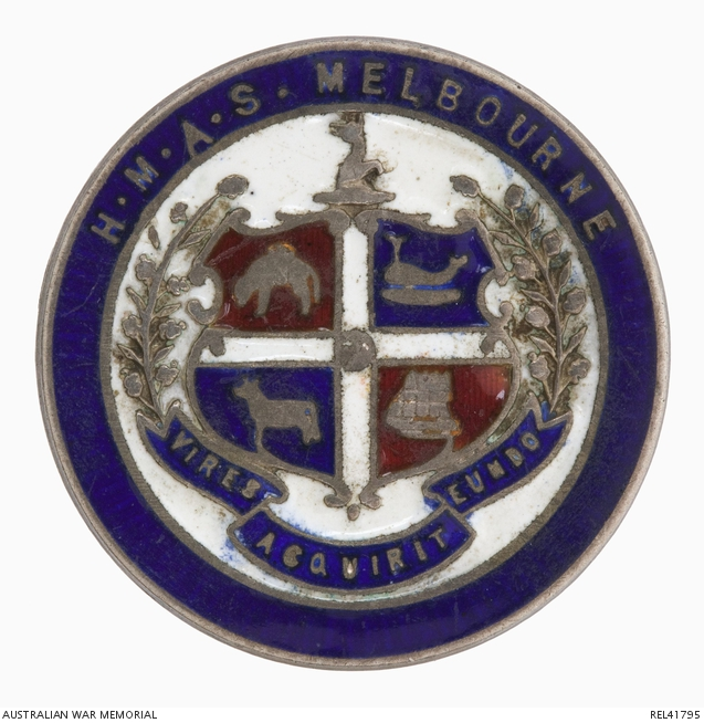 A sweetheart brooch, likely to have been produced to celebrate the commissioning of HMAS Melbourne (I), a Chatham class light cruiser, into the Royal Australian Navy in 1913.