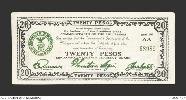 Philippines Emergency Currency : 20 pesos note | The