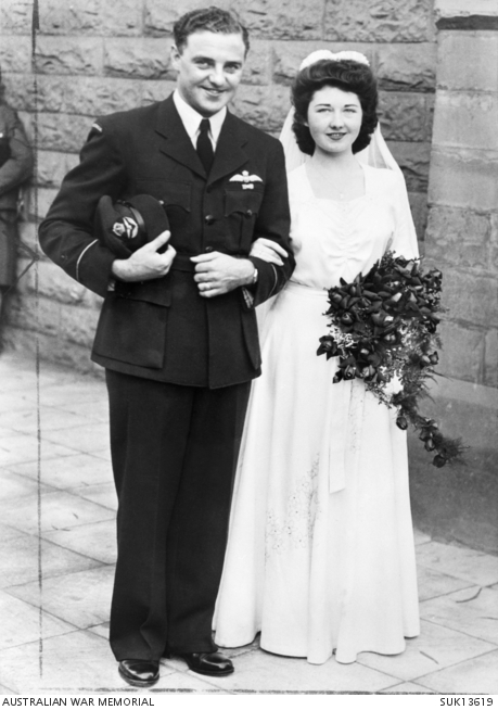 The wedding of Flying Officer J. F. A. Ellis of the RAAF of Creswick, Vic, to Flight Sergeant Molly I. Dunlop of Glasgow, Scotland at St Andrew's Church, Cairo. SUK13619.