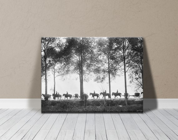 Canvas print: Australian artillery limbers proceeding along Ypres Road (large)