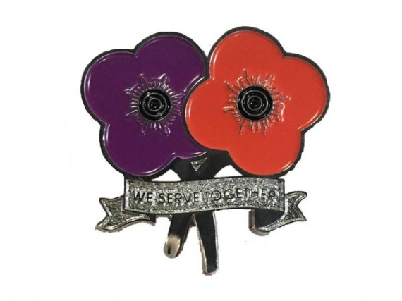 Purple and red poppy lapel pin: we serve together