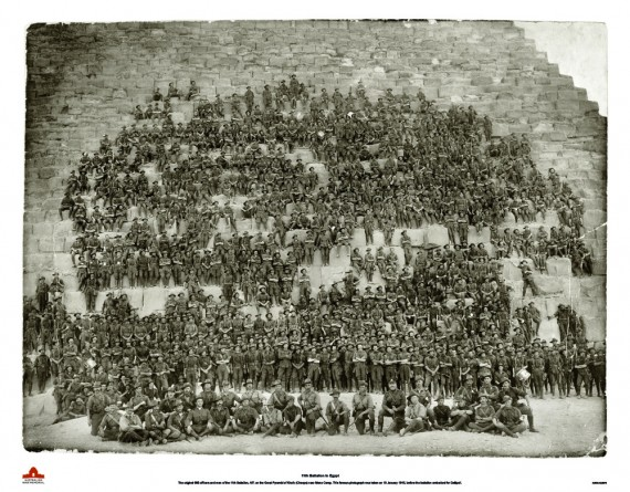 Officers and men of the 11th Battalion, at the Great Pyramid of Cheops