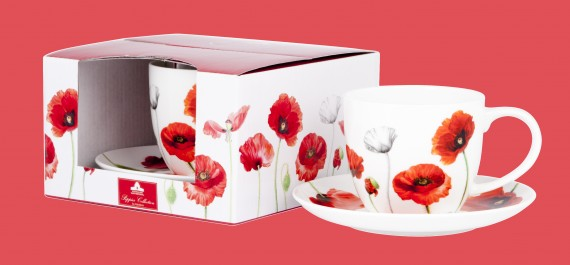 Tea cup and saucer: Poppies collection