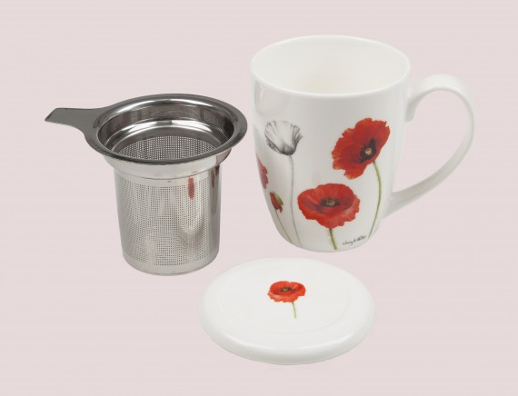 Mug and infuser: Poppies collection