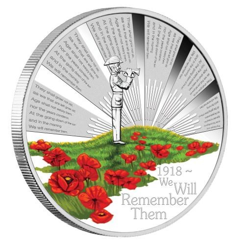 Coin: 2018 Anzac Spirit 100th Anniversary, We will remember them, 1oz gold proof coin