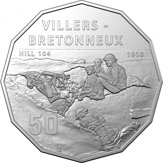 Coin: 2018, Villers-Bretonneux, 50c uncirculated coin
