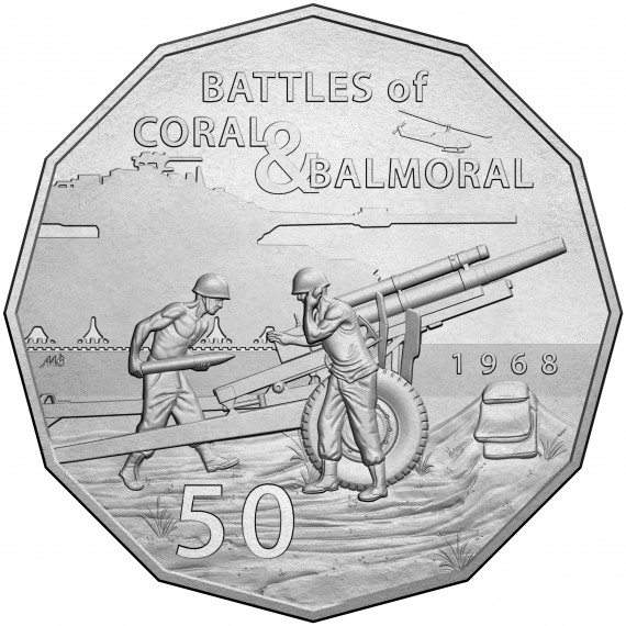 Coin: 2018, Battles of Coral & Balmoral, 50c uncirculated coin