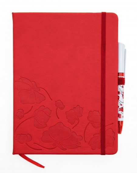 Notebook and pen: brushed poppy