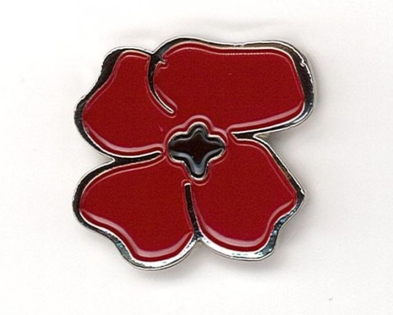 Centenary Flanders poppy pin