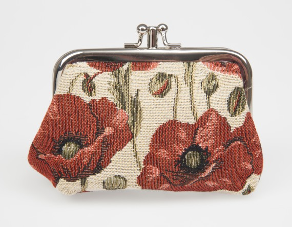 Poppy tapestry: coin purse