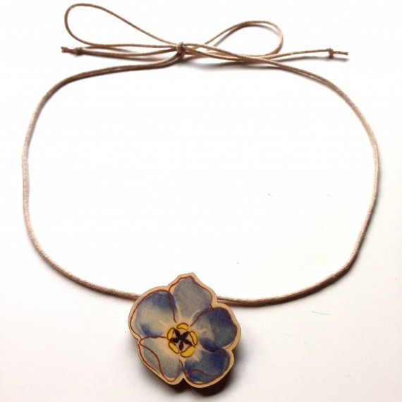 Watercolour forget-me-not pendant