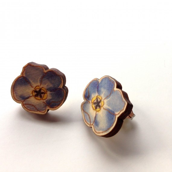 Watercolour forget-me-not stud earrings