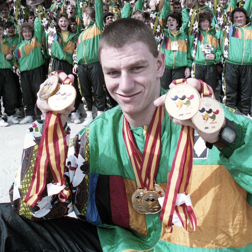 Swimmer Joseph Walker displays the nine gold medals he won as the most successful Australian athlete at the 1992 Madrid
