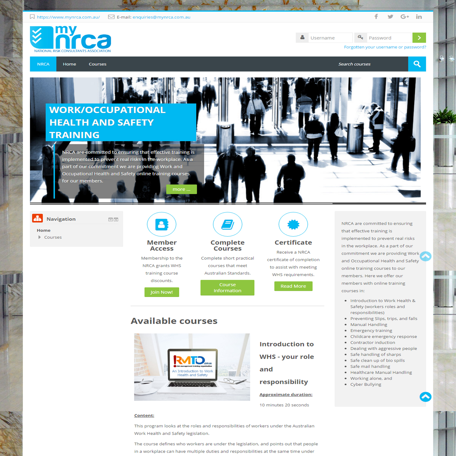 NRCA Staff Training Platform