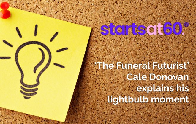 Bare Cremantion's Cale Conovan explains idea that sparked the change in the funeral industry, in his Starts at 60 article.