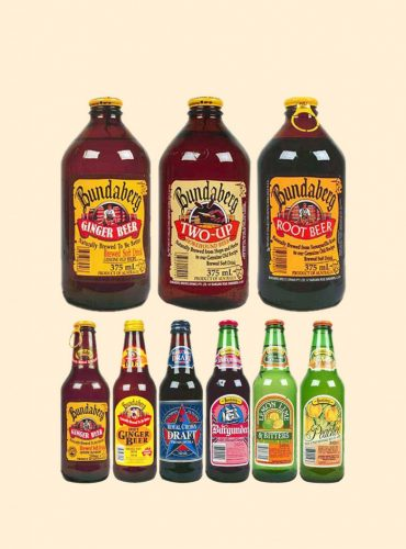 Some of the historical bottles and packaging of Bundaberg Brewed Drinks