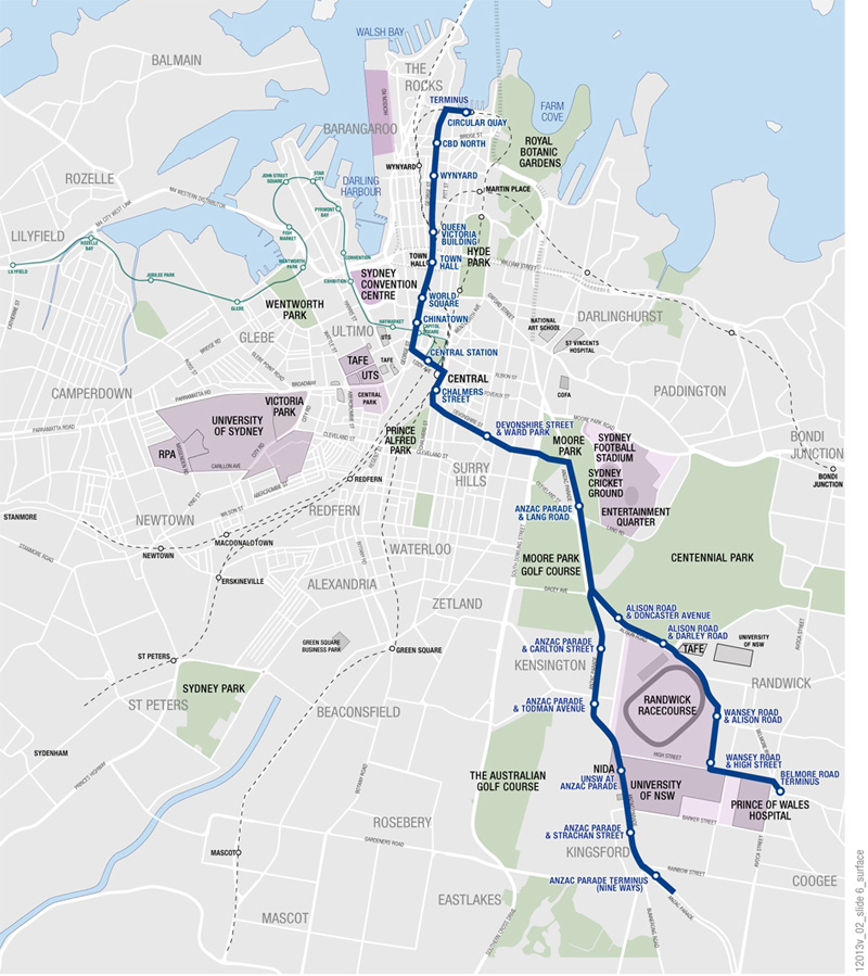 Route of the George Street and South East Light Rail Line. Click to enlarge. (Source: Transport for NSW)