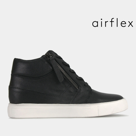 SAHARA Leather Wedge Zip Up Sneakers