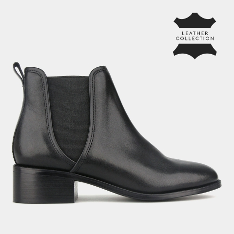 ZIGGY Leather Mid Heel  Ankle Boots