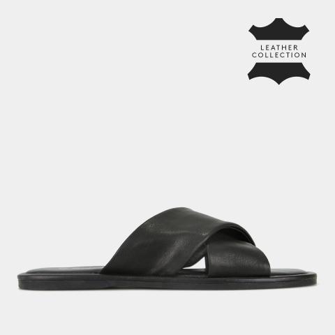 SYMI Flat Leather Slides