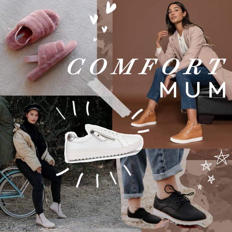 Comfort Mum - Comfortable Shoes - Mother's Day Fluffy Slippers, Footbed Sneakers & Block Heels