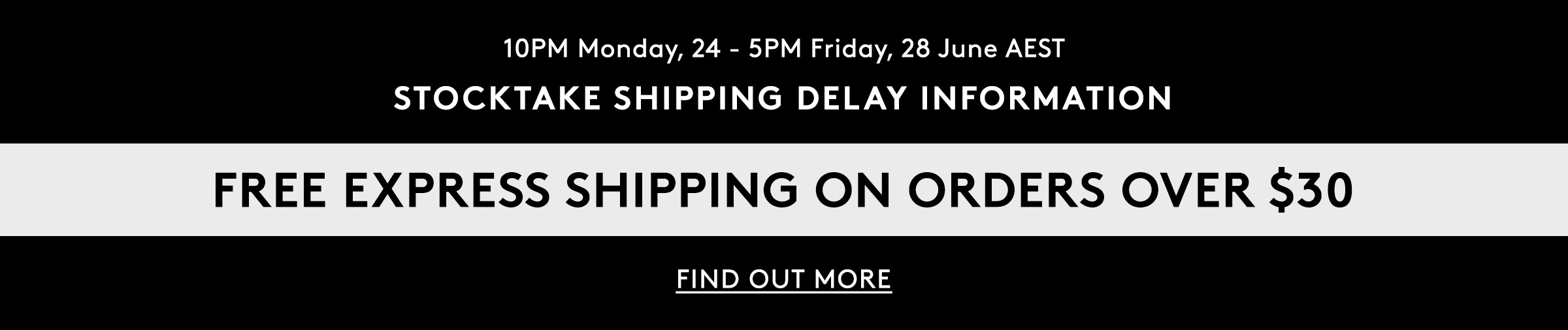 Stocktake Shipping Delay Information