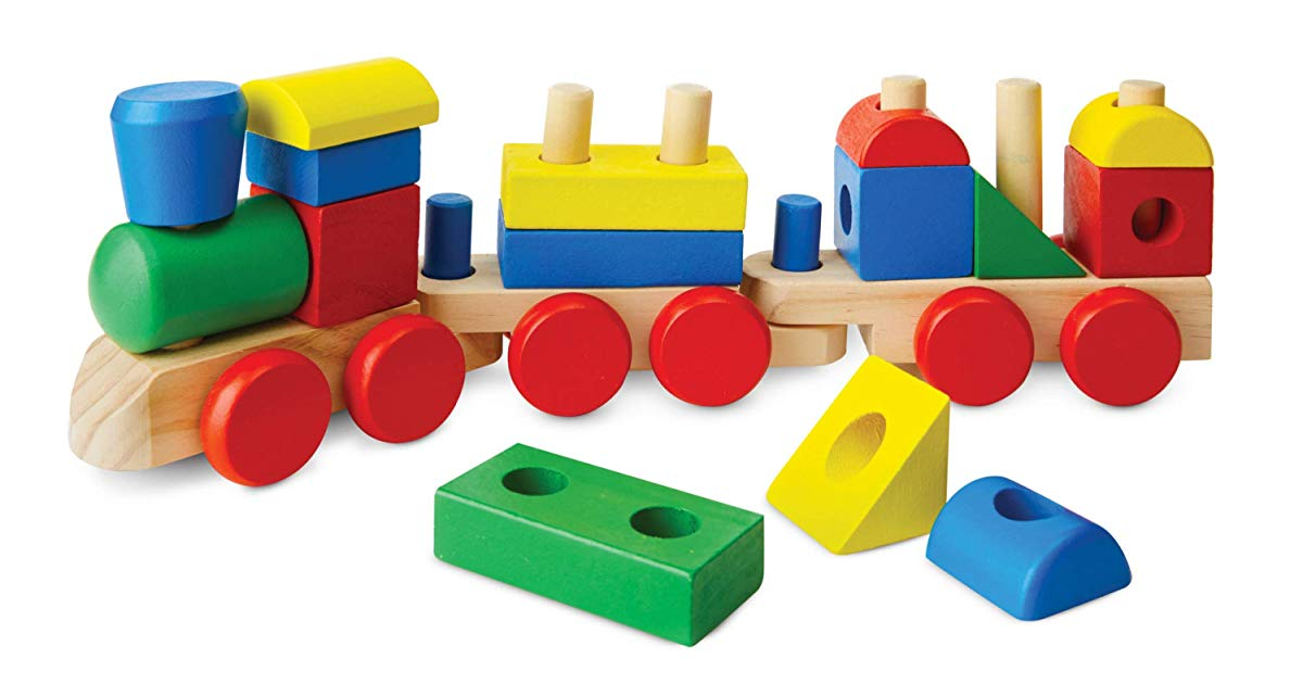 Melissa & Doug Stacking Train – Classic Wooden Toddler Toy (18 pcs)