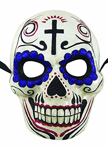 P 'tit clown Adult Mask 38271 Paper Maché – Day of the Dead – White and Purple, One Size