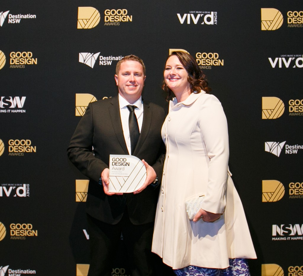 The Safety Compass founder Adam Poole and his partner Ally with their award.