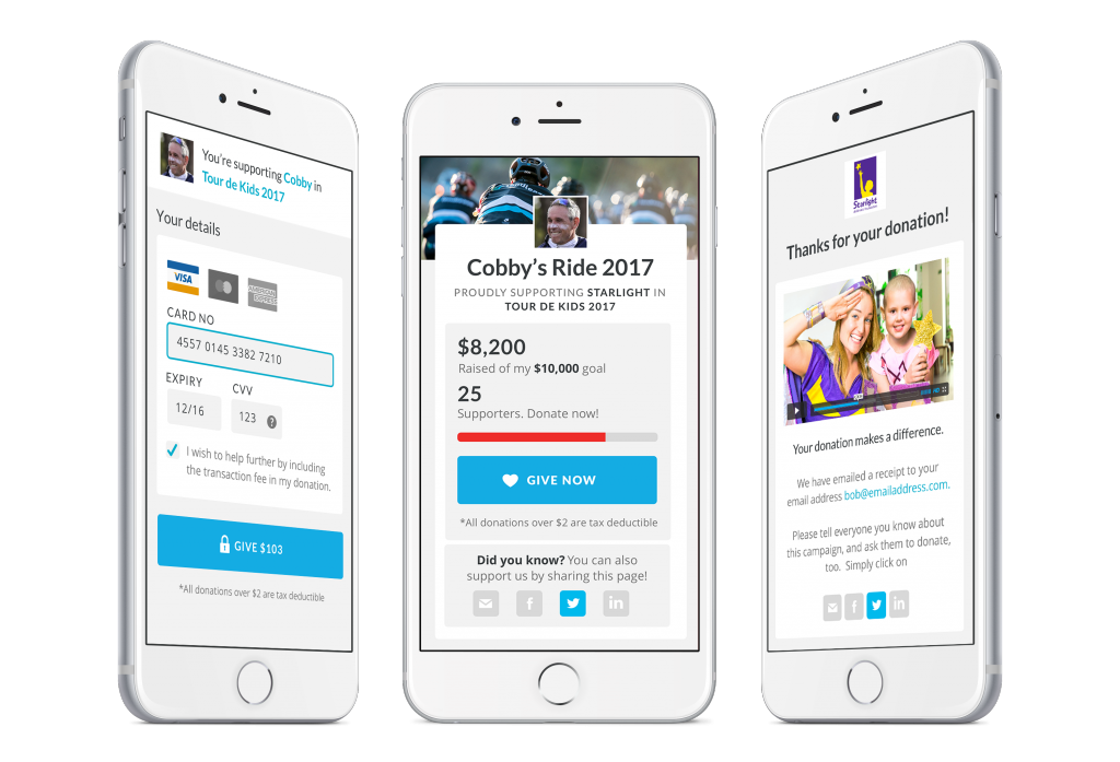 Three iPhone screenshots showcasing the fundraising experience through the payments page, campaign overview and thank you page