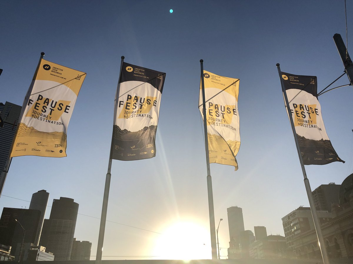 PauseFest banners at FedSquare in Melbourne.