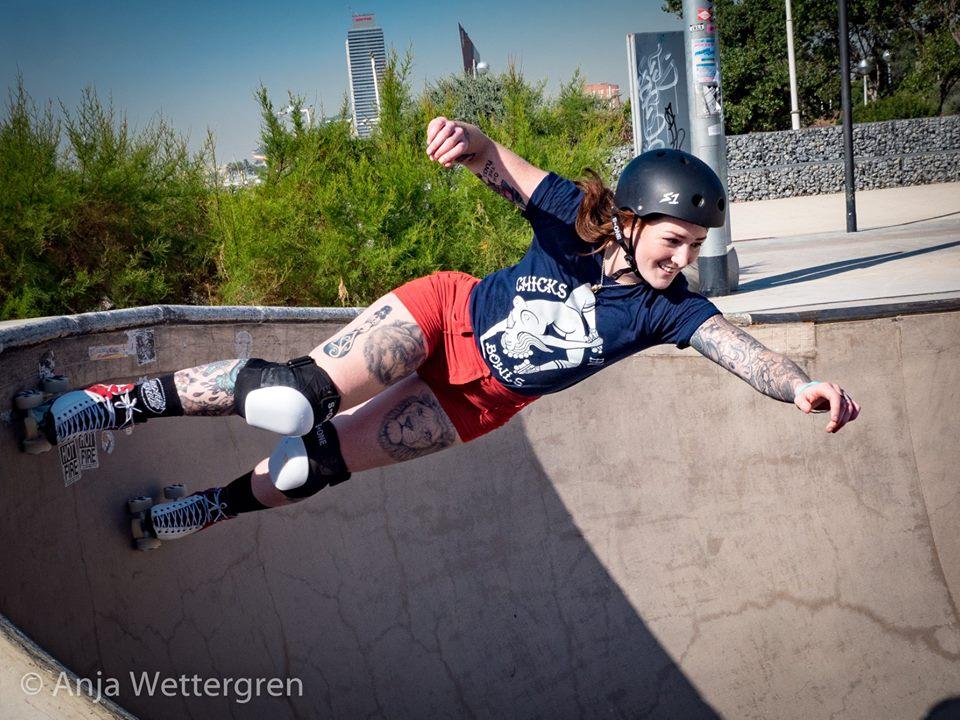 Samara from BlueChilli skating and showing balance