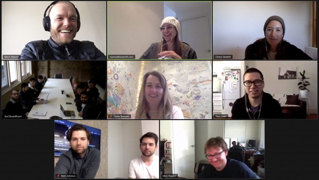 BlueChilli Production team connecting via Zoom