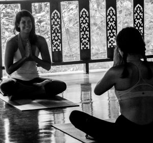 Megan teaching yoga and mindfulness at a retreat