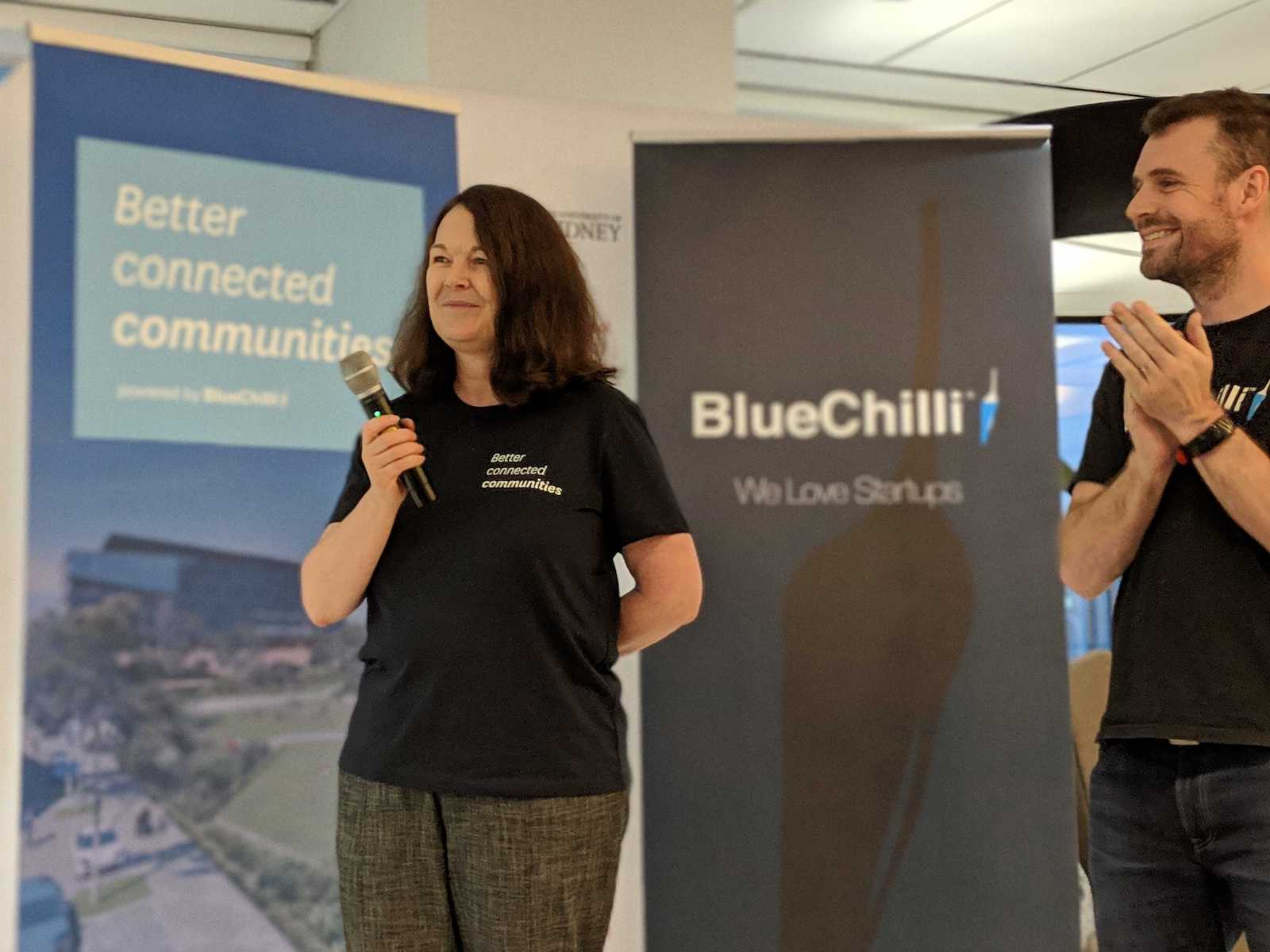 At Stockland Product Showcase Robyn Elliott from Stockland with BlueChilli CEO, Seb.